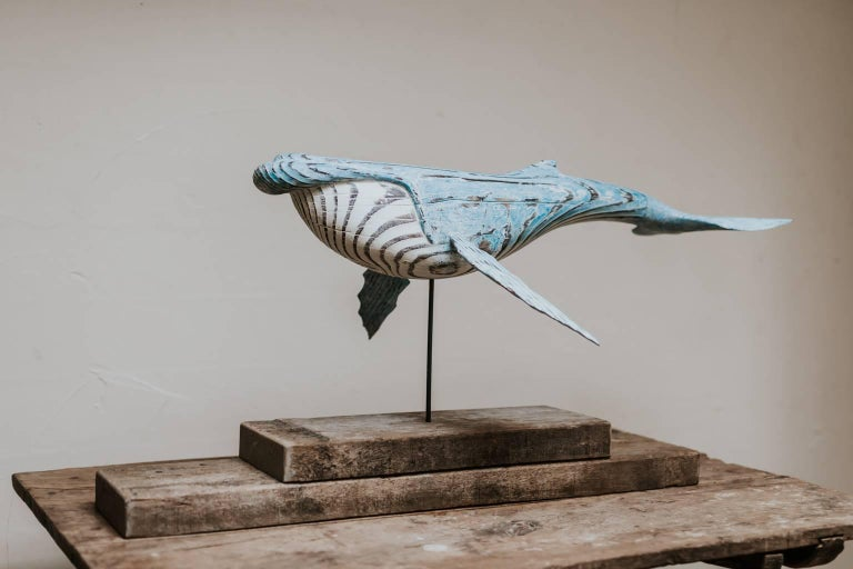 British Wooden Whale Sculpture For Sale