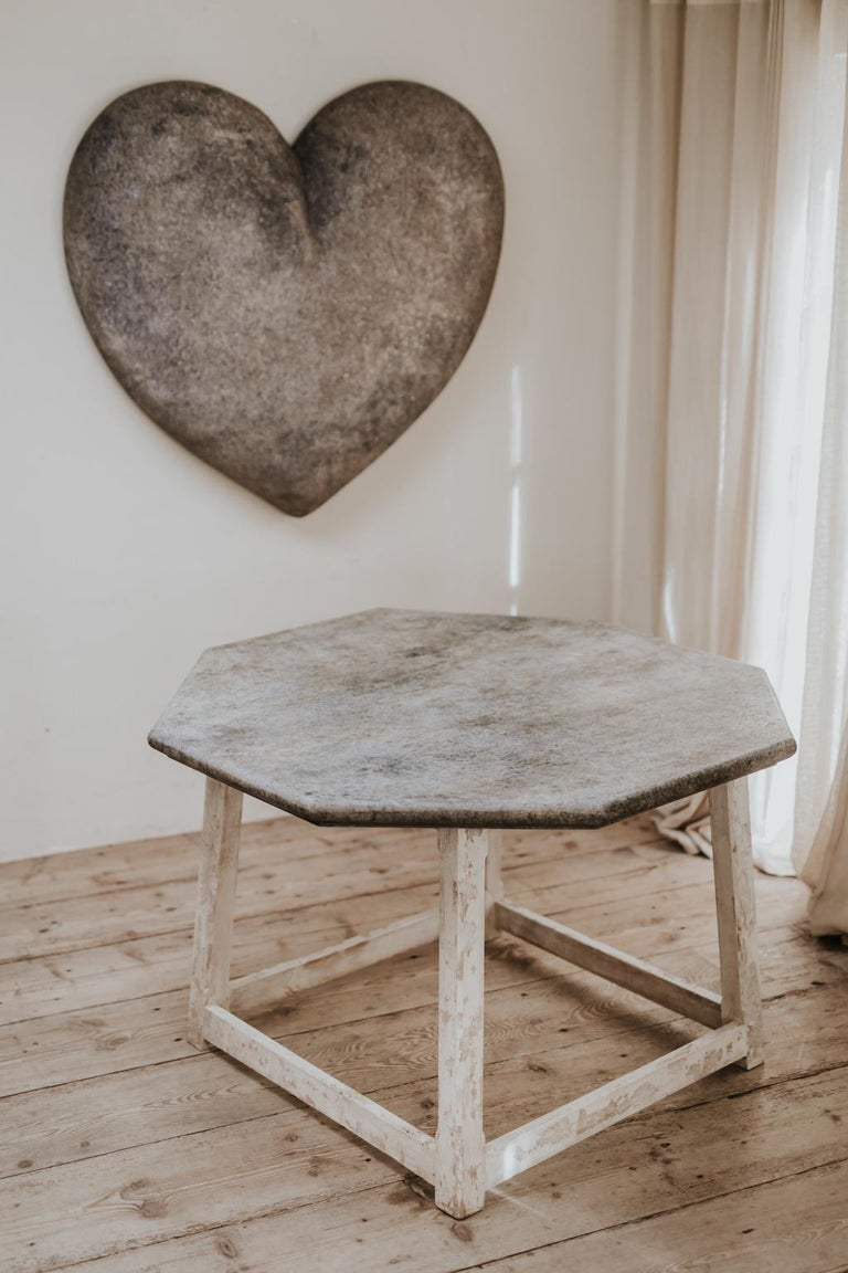Wood Customized Octagonal Table with Fausse Pierre Top For Sale