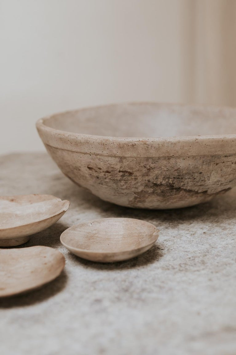 British 18th Century Sycamore Dairy Bowl and 3 Skimmers For Sale
