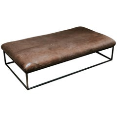 Customized Leather Topped Coffee Table