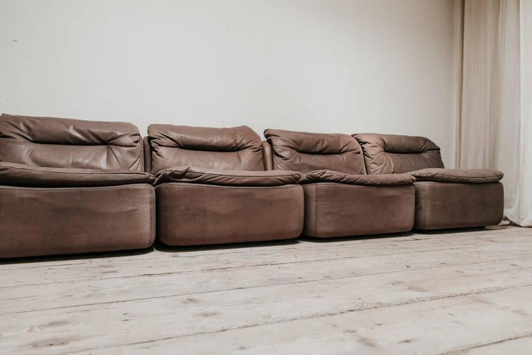 German 20th Century Leather Modular Sectional Sofa For