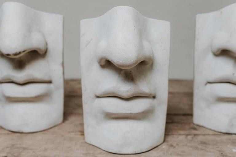 These plaster figures of nose and lips, David by Michelangelo, after the antique, were made in the 1950s by students of an Academy of Arts in Paris.