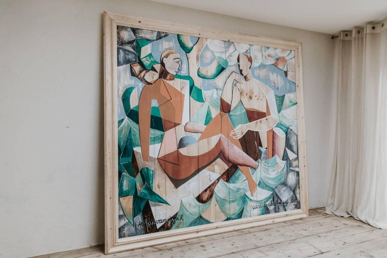 Contemporary Oil on Wood Painting by Johan Van Dijck  In Excellent Condition For Sale In Brecht, BE
