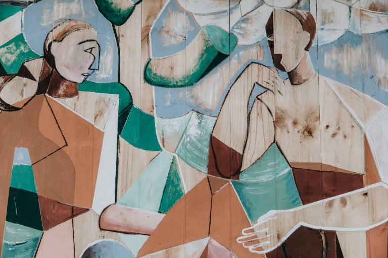 Neomodernist/neocubism contemporary painting by Belgian artist Jo van Dijck.