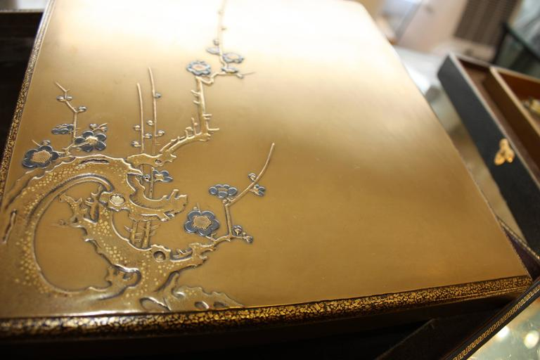 18th Century Golden Calligraphy Set Box With Plum Blossoms