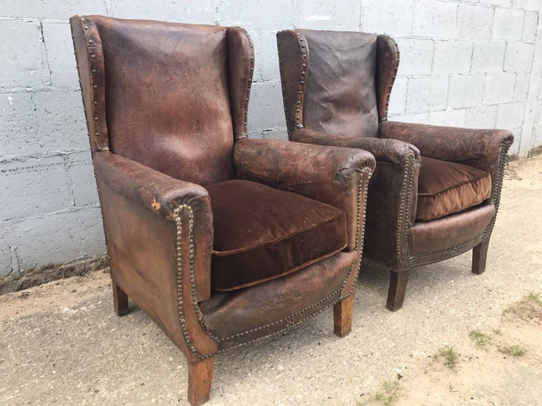 Beautiful French Leather Antique Club Chairs Industrial At