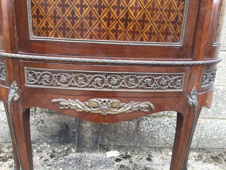 French Antique Inlaid Display/Shop Cupboard, Unusual, Vintage, Louis XV In Good Condition For Sale In Lingfield, West Sussex