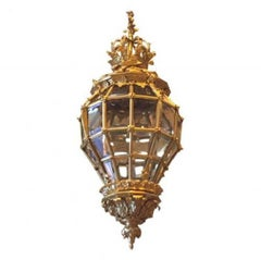 Stunning French Bronze and Glass Empire Antique, Vintage Chandelier/Lantern