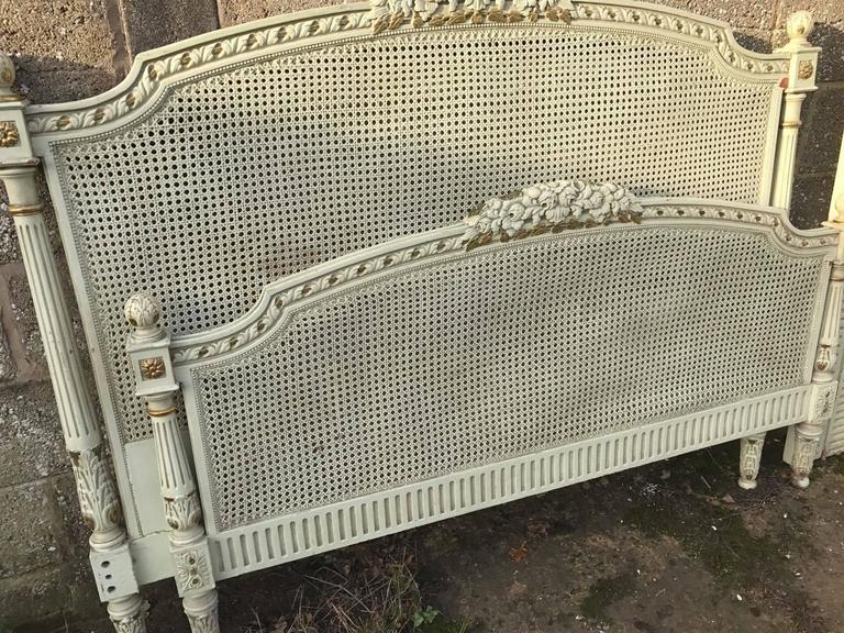 French Antique Original Painted King Size Rattan Bed For