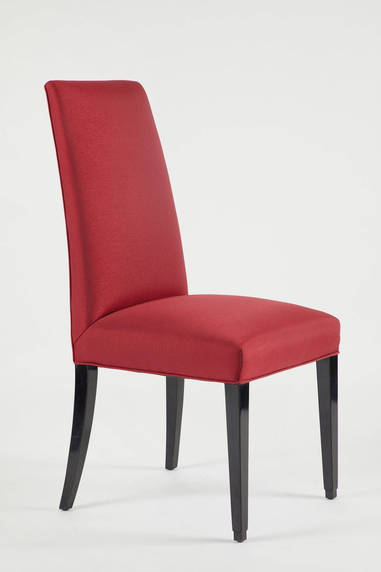 American Set of 12 Red Dining Chairs For Sale