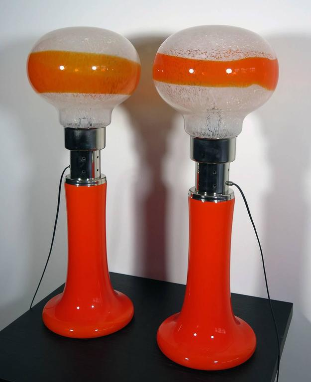 Mazzega White Orange Bubble Glass Floor Lamps In Excellent Condition For Sale In Padova, IT