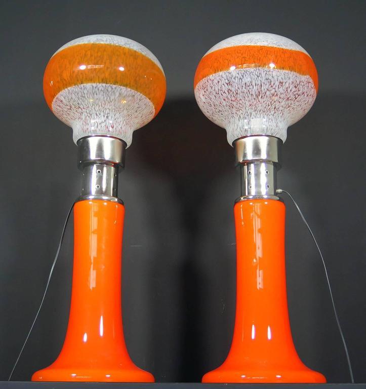 Italian Mazzega White Orange Bubble Glass Floor Lamps For Sale