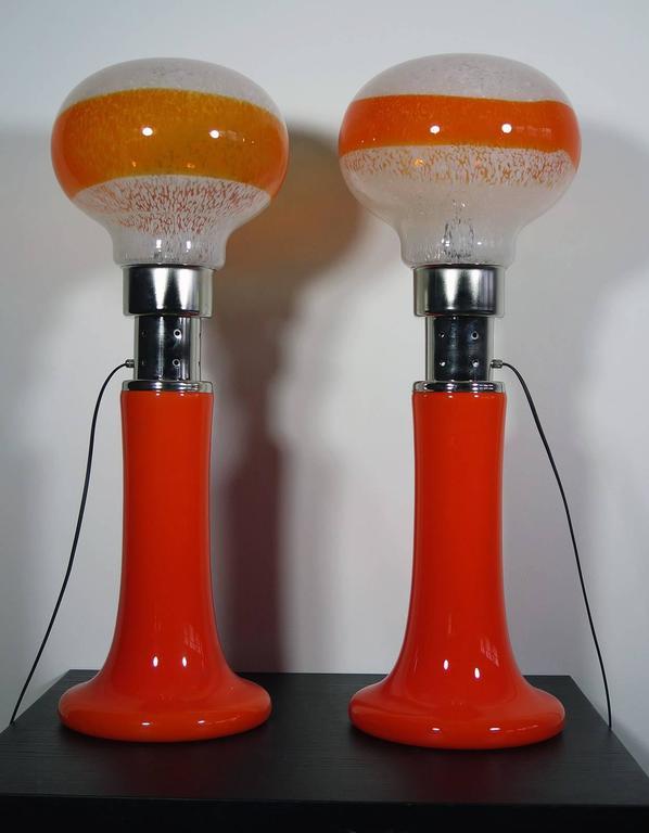Late 20th Century Mazzega White Orange Bubble Glass Floor Lamps For Sale