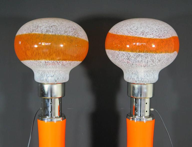 Stainless Steel Mazzega White Orange Bubble Glass Floor Lamps For Sale