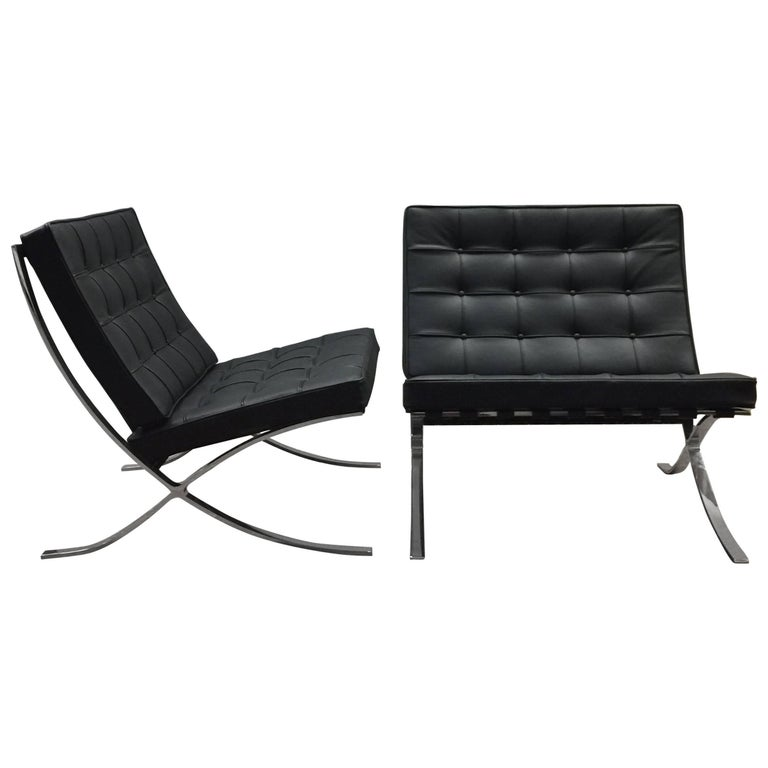 Pair Of Ludwig Mies Van Der Rohe Barcelona Chairs Knoll Edition