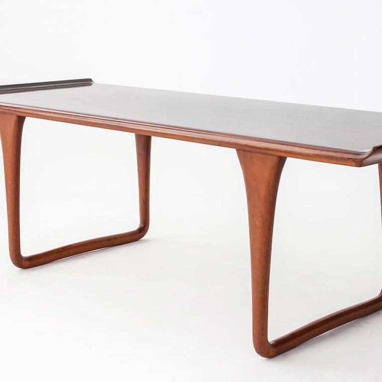 Mid Century Modern Svante Skogh 1950s Rectangular Rosewood Coffee Table  With Curved Top For Sale