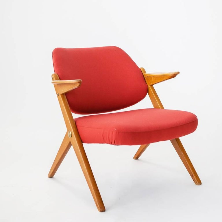 Bengt Ruda 1950s Trivia Armchairs In Birch Wood And Red