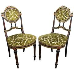 Pair of Italian Painted Carved Wood and Velvet Louis XVI Style Side Chairs