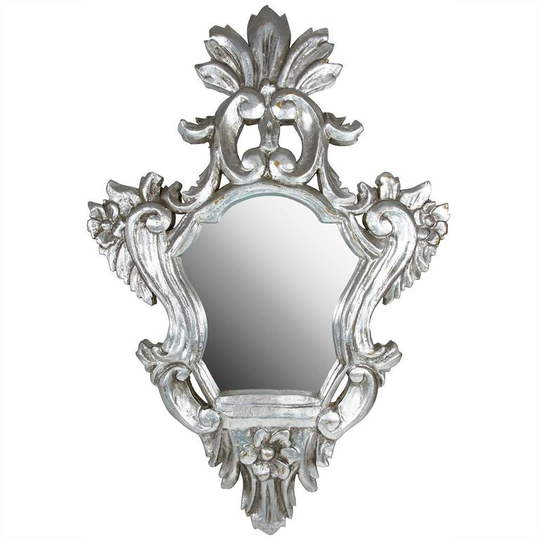 Baroque style silvered carved wood wall mirror for sale at for Baroque style wall mirror