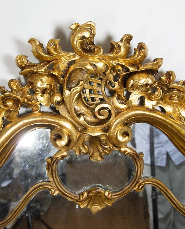 19th Century Italian Rococo Style Giltwood Wall Mirror or Console Mirror 5