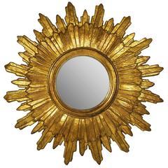 Mid-20th Century Italian Baroque Style Giltwood Sunburst Mirror