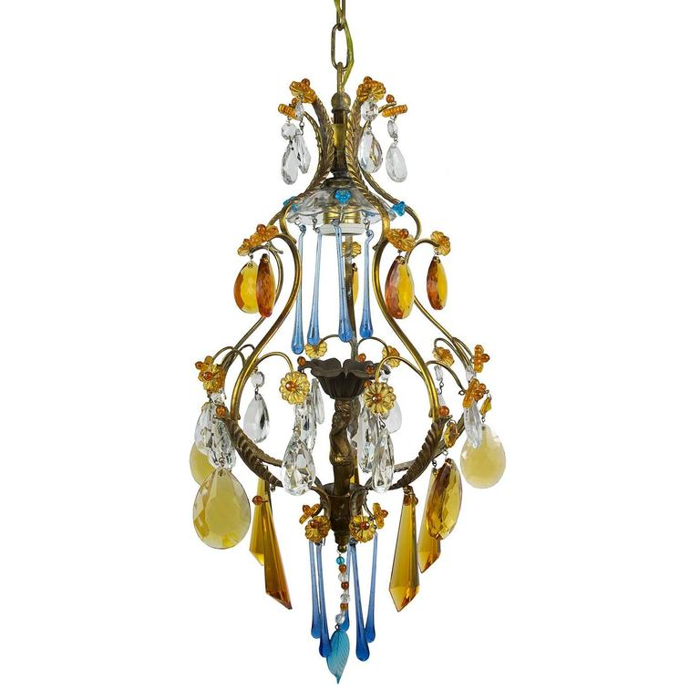 Small Brass And Multi Color Crystal And Murano Glass