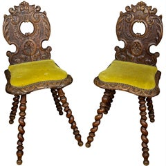 19th Century Pair of Carved Wood Renaissance Style Side Chairs with Spiral Legs