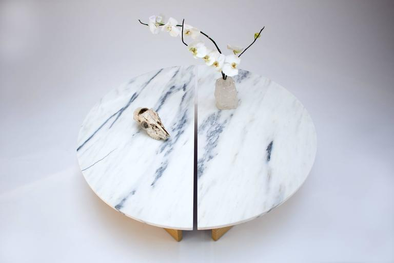 Contemporary Half Moon Coffee Table in Imperial Danby Marble and White Oak 5