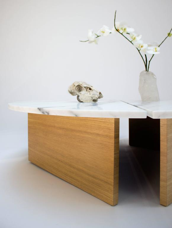 Contemporary Half Moon Coffee Table in Imperial Danby Marble and White Oak 4