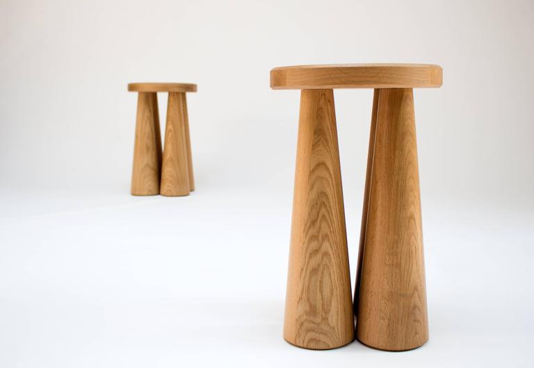 Contemporary Pillar Side Table in Turned White Oak 2