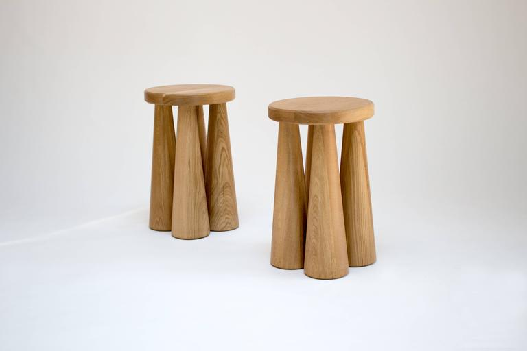 Contemporary Pillar Side Table in Turned White Oak 3