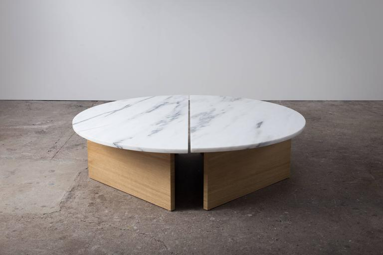 Contemporary Half Moon Coffee Table in Imperial Danby Marble and White Oak 2