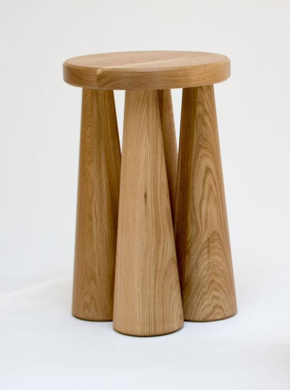 Contemporary Pillar Side Table in Turned White Oak 4