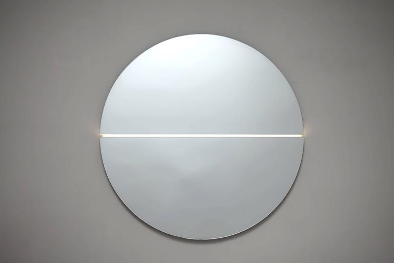 American Contemporary Gemini Mirror and Light For Sale