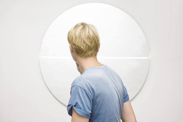 Contemporary Gemini Mirror and Light In Excellent Condition For Sale In Providence, RI