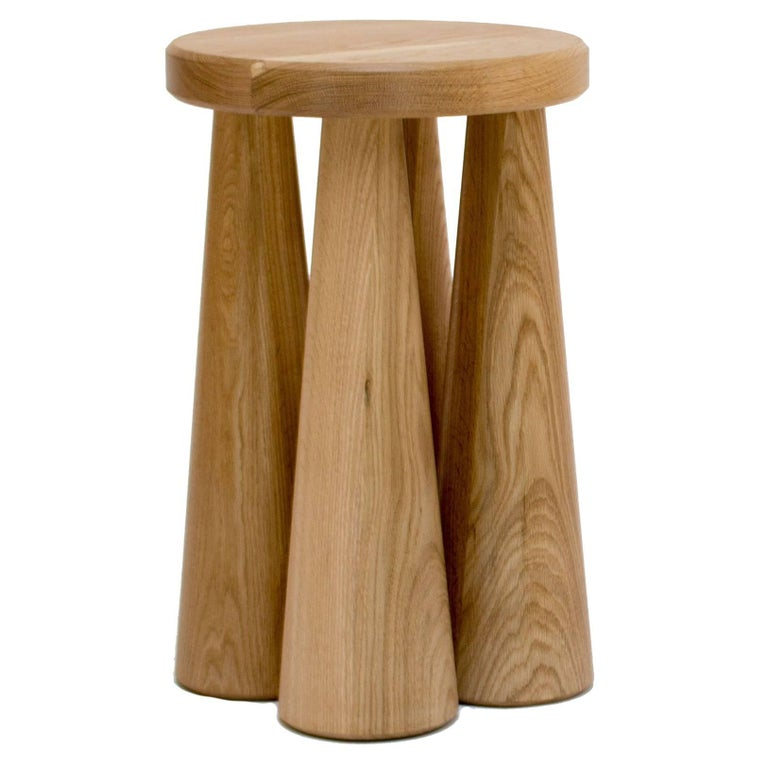 Contemporary Pillar Side Table in Turned White Oak