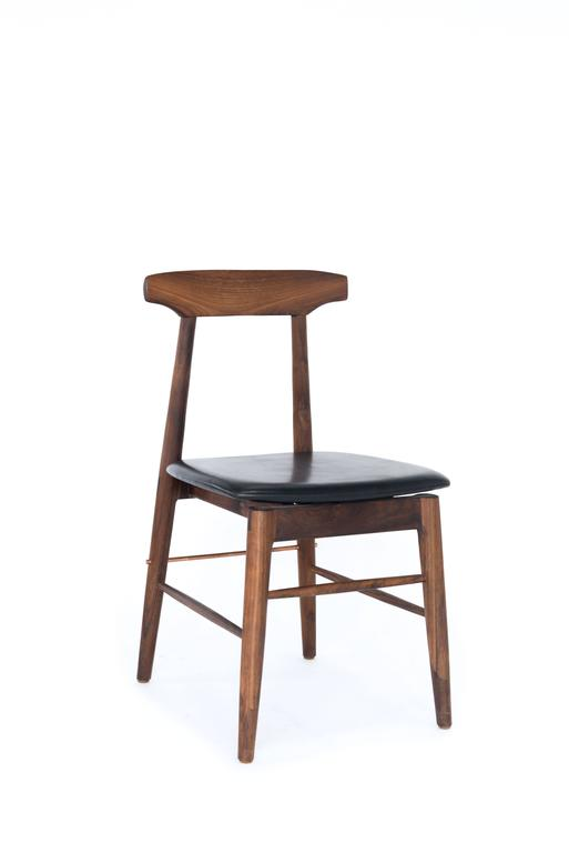 Mid-Century Modern Walnut and Black Leather Sable Dining Chair For Sale