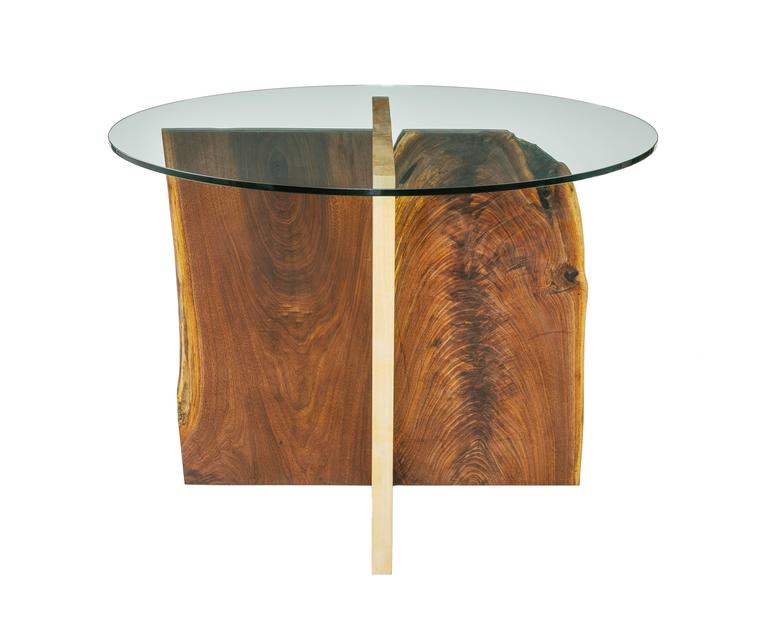 Walnut and Maple Slab Base Glass Top X Dining Table 3
