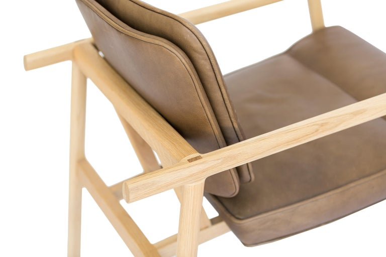 Mid-Century Modern Chris Earl Natural Oak, Olive Leather Moresby Armchair For Sale