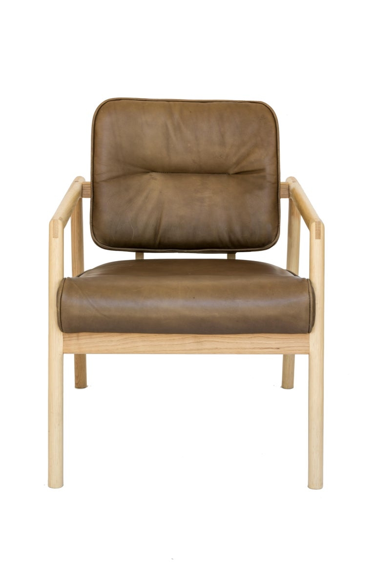 American Chris Earl Natural Oak, Olive Leather Moresby Armchair For Sale