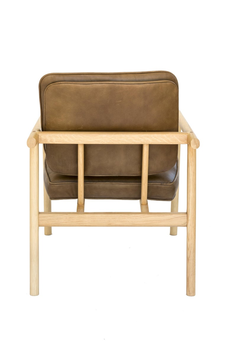 Ebonized Chris Earl Natural Oak, Olive Leather Moresby Armchair For Sale