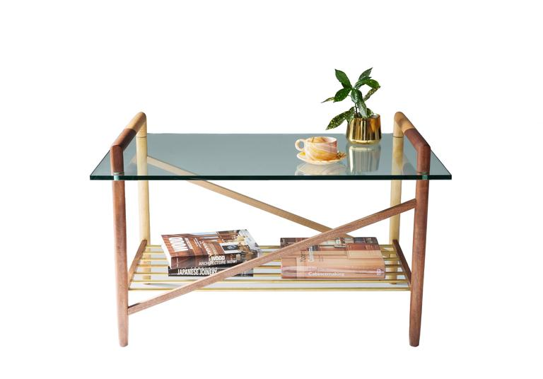 Mid-Century Modern Walnut, Maple and Brass Base Coffee Table with Glass Top For Sale