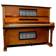 August Forster Upright Piano in Oak Gothic Revival Style