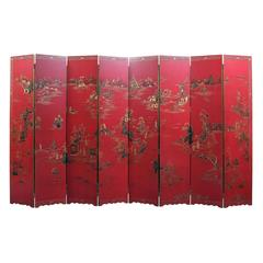 Impressive Chinese Red Lacquer Eight-Leaf Screen