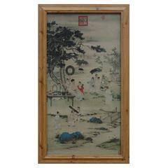 """Lithographic Reproduction of """"The Qianlong Emperor Viewing Paintings"""""""