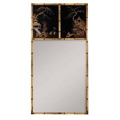 Large Trumeau Mirror with Chinoiserie Lacquer Panels