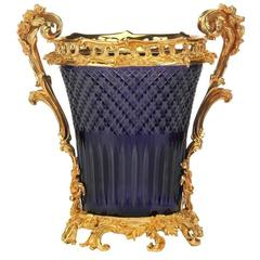 Hermitage 24-Karat Gilt Bronze and Carved Lead Crystal Wine Cooler