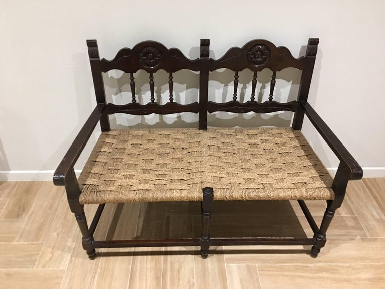 Two Seat Tuscan Wooden Straw Bench Italy 19th Century At