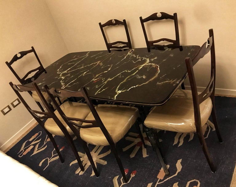 Mid-20th Century Midcentury Dining Room Set for Six, Attributed to Paolo Buffa For Sale