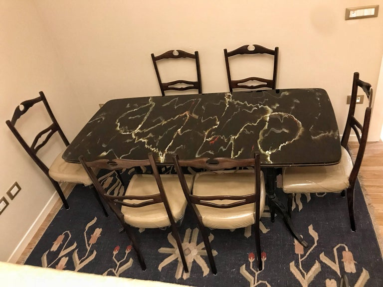 Glass Midcentury Dining Room Set for Six, Attributed to Paolo Buffa For Sale